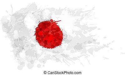 bandiera, fatto, giapponese, colorito, schizzi