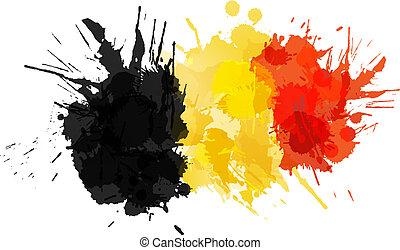 bandiera, fatto, schizzi, colorito, belga