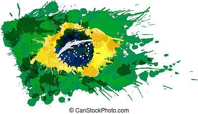 bandiera, fatto, schizzi, colorito, brasiliano