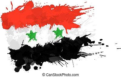 bandiera, fatto, siriano, schizzi, colorito