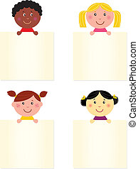 bandiera, felice, carino, bambini, vuoto, multicultural