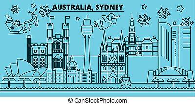 bandiera, felice, contorno, vector., appartamento, australia, natale, sidney, natale, decorato, anno nuovo, skyline., città, claus., allegro, inverno, illustrazione, santa, lineare, vacanze