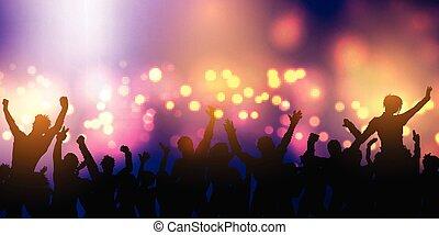 bandiera, folla, festa, disegno, 0601