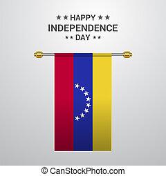 bandiera, fondo, appendere, venezuela, giorno, indipendenza