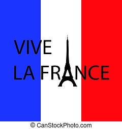 bandiera, fondo, torre, eiffel, -, vivere, lungo, francia, day., testi, france., francese, lettera, 14., instead, luglio, a., bastille, traduzione