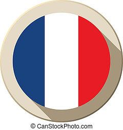 bandiera francia, moderno, bottone, icona