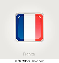 bandiera francia, vettore, illustrazione, bottone