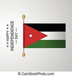 bandiera, giordania, fondo, appendere, giorno, indipendenza