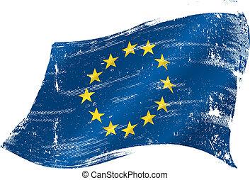 bandiera, grunge, europeo