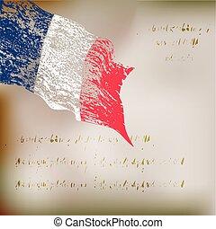 bandiera, grunge, fondo, francia