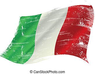 bandiera, grunge, italiano