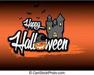 bandiera, halloween, isolato, fondo, felice