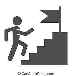 bandiera, icon., lavoro, web, stile, carriera, pictogram, piedistallo, successo, cima, graphics., concorrenza, concetto, rampicante, mobile, solido, bianco, design., vettore, uomo, fondo., scala, glyph