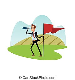 bandiera, icona, telescopio, elegante, successo, carattere, comico, uomo affari