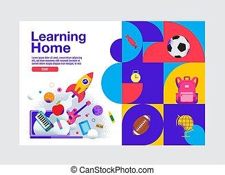 bandiera, illustration., educazione, casa, cultura, sagoma, vettore