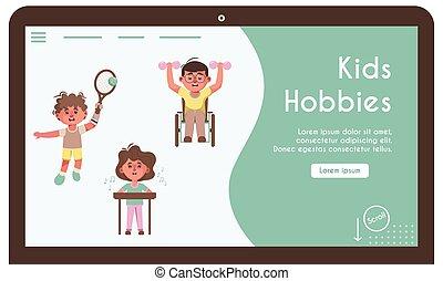 bandiera, illustrazione, invalido, hobby, bambini, vettore