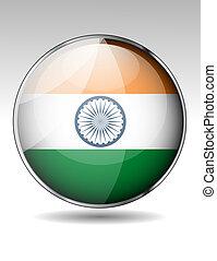 bandiera, india, bottone