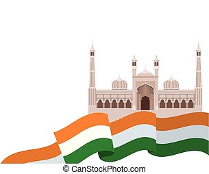 bandiera, indiano, giorno, indipendenza, celebrazione