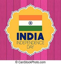 bandiera, indiano, laccio, giorno indipendenza