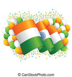 bandiera, indiano, tricolore, balloon