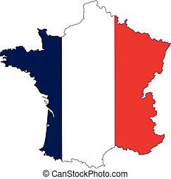bandiera, mappa, vettore, isolato, francia, illustrazione