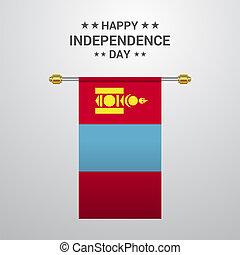 bandiera mongolia, fondo, appendere, giorno, indipendenza