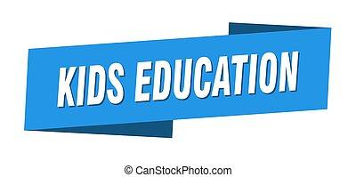 bandiera nastro, bambini, template., adesivo, educazione, etichetta, segno.