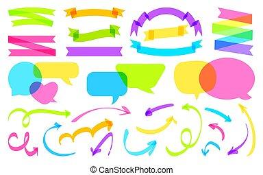 bandiera nastro, vettore, discorso, set, bolla, freccia, testo