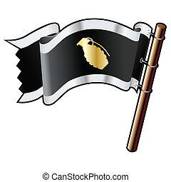 bandiera, nero, granata, mano