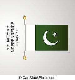 bandiera pakistan, fondo, appendere, giorno, indipendenza