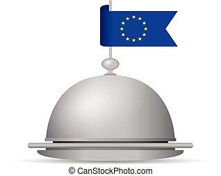 bandiera, piatto da portata, cena, europeo