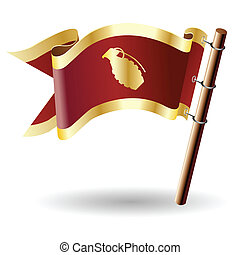 bandiera, reale, granata, mano