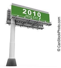 """bandiera, segno, """"2009freeway, 2010"""", uscita, anno"""