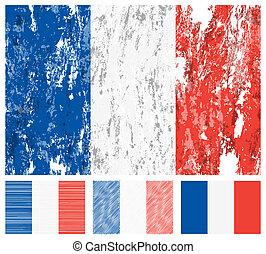 bandiera, set, grunge, francia