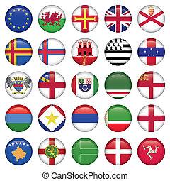 bandiera, set, rotondo, europeo, icone