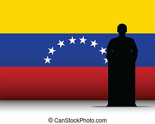 bandiera, silhouette, venezuela, fondo, discorso, tribuna