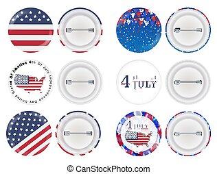 bandiera, spilla, tema, 4 luglio, america, rotondo