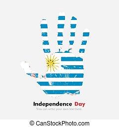 bandiera, stile, grunge, handprint, uruguay