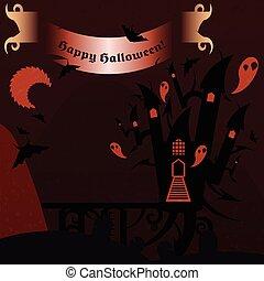 bandiera, testo, castello, halloween, rosso