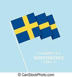 bandiera, tipografico, svezia, vettore, disegno, giorno, indipendenza