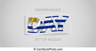 bandiera, uruguay, augurio, vettore, giorno indipendenza, scheda, felice