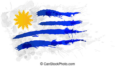 bandiera, uruguay, fatto, schizzi, colorito