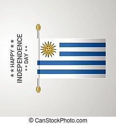 bandiera uruguay, fondo, appendere, giorno, indipendenza