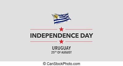 bandiera, uruguay, scheda, augurio, illustrazione, vettore, giorno, indipendenza, felice