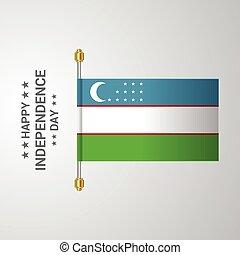bandiera uzbekistan, fondo, appendere, giorno, indipendenza