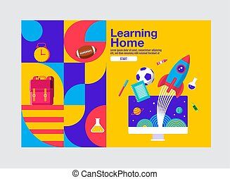 bandiera, vettore, cultura, illustration., educazione, sagoma, casa