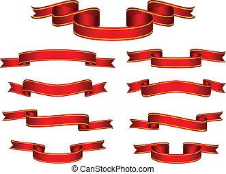 bandiera, vettore, set, nastro rosso