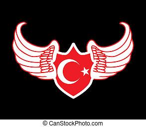 bandiera, vettore, turco, arte, rosso