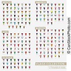 bandiera, world., verticale, alphabetical., triangolo, bandiere, continenti, collezione, fascicolato, icona