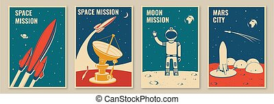 bandiere, camicia, concetto, vettore, stamp., spazio, disegno, manifesti, astronauta, città, vendemmia, silhouette., luna, stampa, tipografia, razzo, flyers., missione, marte